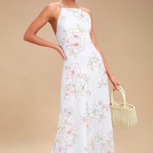 Lulu's Light Blue Floral Print Maxi Dress - XL